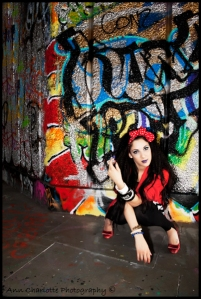Minnie Mouse. red, trendy, fashion shoot, Samantha Ria, southbank, graffiti, skatepark